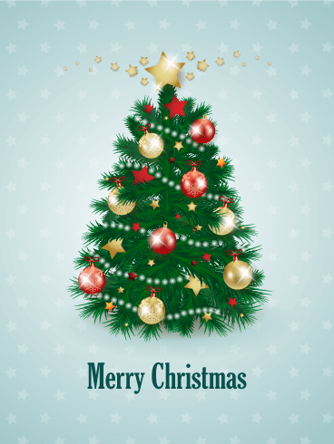 decorated christmas tree card - Christmas Tree Card