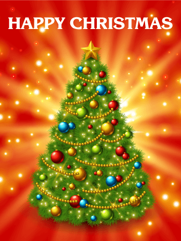 super shining christmas tree card - Christmas Tree Card