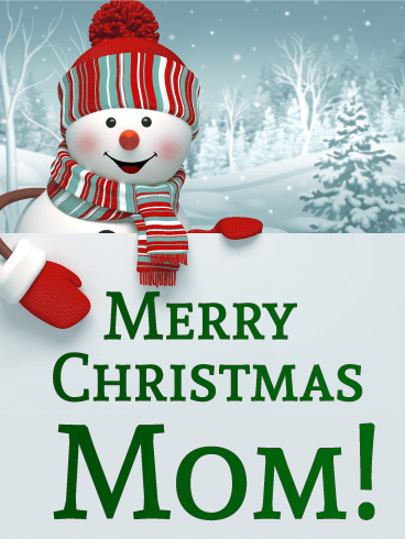 Happy Snowman Christmas Card For Mother Birthday