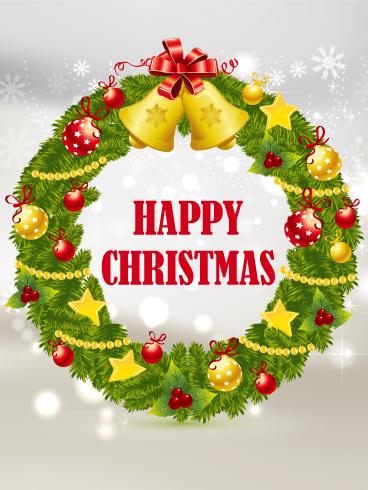 Admirable Happy Christmas Wreath Card Birthday Amp Greeting Cards By Funny Birthday Cards Online Amentibdeldamsfinfo