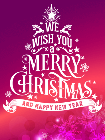 Typographic Style Christmas Card Birthday Amp Greeting
