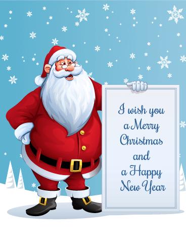 I Wish You A Merry Christmas Santa Christmas Card