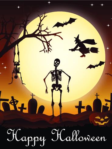 dancing skull happy halloween card - Dancing Halloween