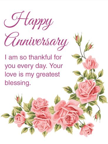 I Am Thankful For You Happy Anniversary Card Birthday