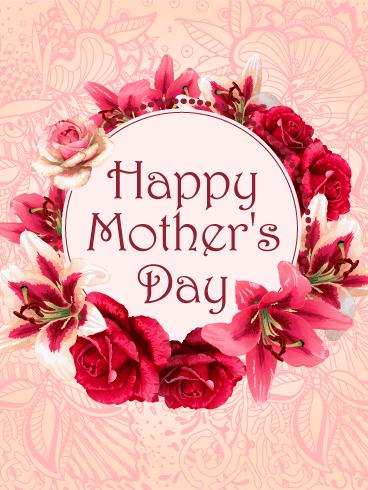 Flower Wreath Happy Mother's Day Card | Birthday ...