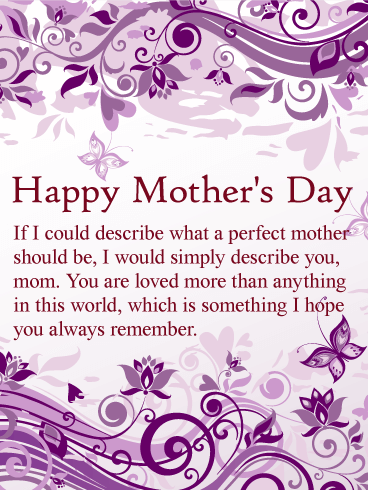 To My Perfect Mom Happy Mother S Day Card Birthday
