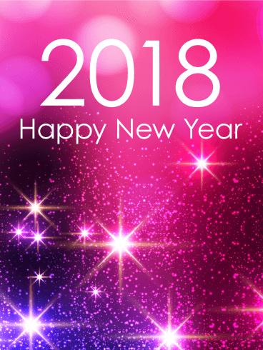 Pink Glow Happy New Year Card 2018 Birthday Amp Greeting