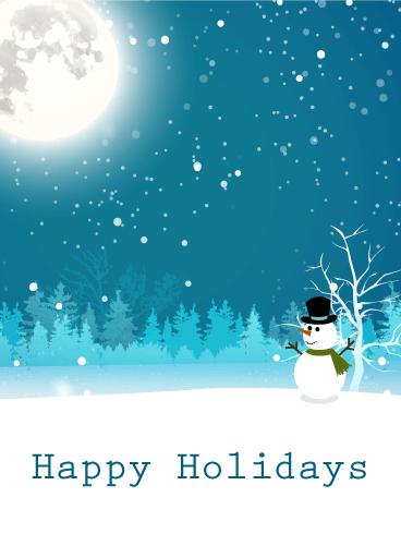 moonlight snowman happy holidays card birthday