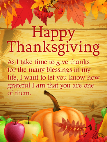 Thanks For The Many Blessings Happy Thanksgiving Card