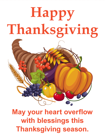 Happy Thanksgiving Greeting >> Thanksgiving Cornucopia Card | Birthday & Greeting Cards by Davia