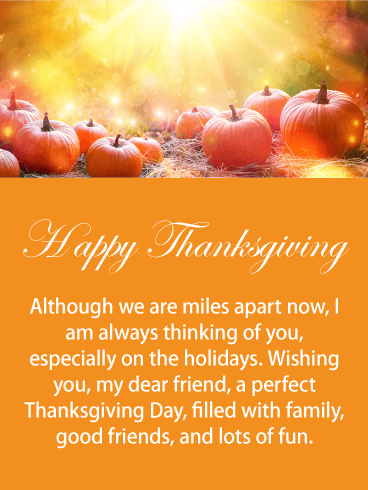 Miles Apart! Happy Thanksgiving Card for Friends ...