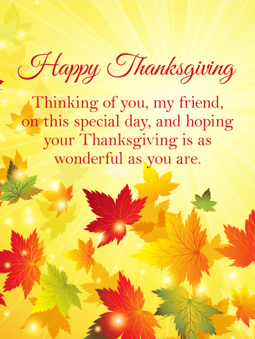 Thinking of You - Happy Thanksgiving Card for Friends ...
