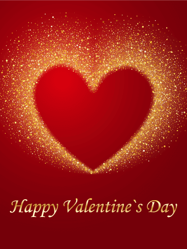 Golden Bright Heart Happy Valentine S Day Card Birthday